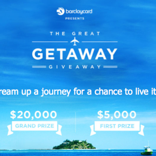 Win $20,000 from Barclay's Great Getaway Giveaway