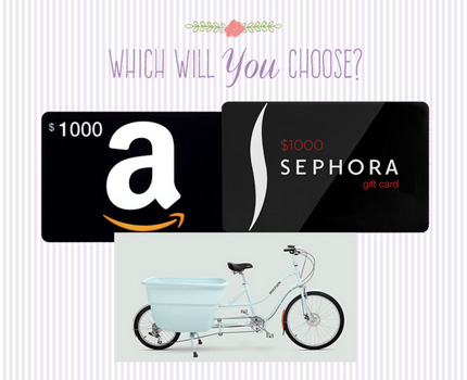 win a 1 000 amazon gift card a 1 000 sephora gift card and a madsen bicycle granny 39 s giveaways. Black Bedroom Furniture Sets. Home Design Ideas