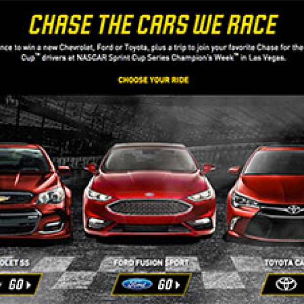 Win A Chevy, Ford Or Toyota + NASCAR Trip