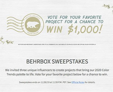 Win a $1K Home Depot Gift Card from BEHR Paints