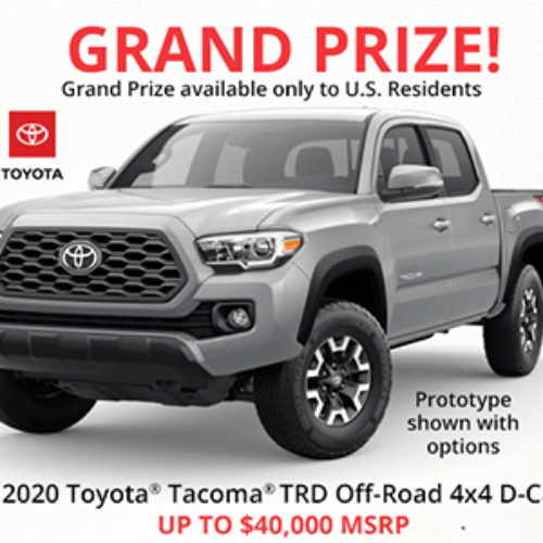 Win a 2020 Toyota Tacoma TRD 4x4 from Cabela's