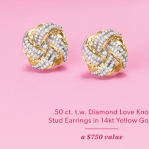 Win Diamond Love Knot Earrings from Ross-Simons