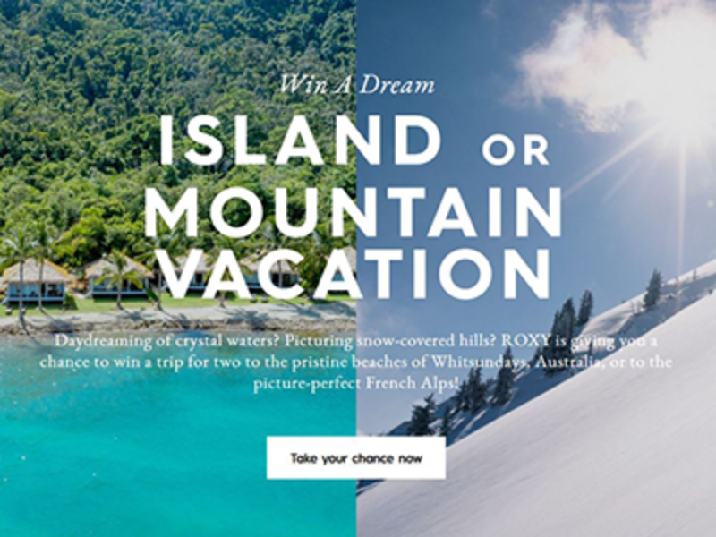 Win an Island or Mountain Vacation from Roxy