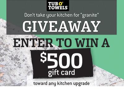 Win a $500 Home Improvement Gift Card + Tub O' Towels