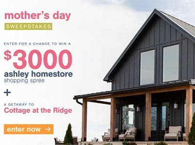 Win a $3K Ashley Shopping Spree + Cottage Getaway