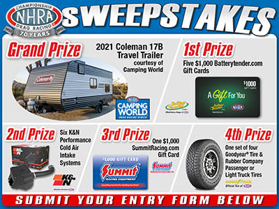 Win a 2021 Coleman 17B Travel Trailer from NHRA