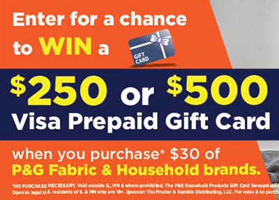 Win a $500 VISA Gift Card from P&G